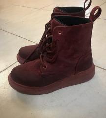 Cipő bordó csizma platform