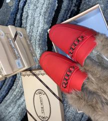 Piros szörmés vadonatúj Gucci stilusu topanka
