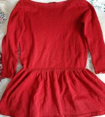 Piros fodros, kötött pulcsi (S)