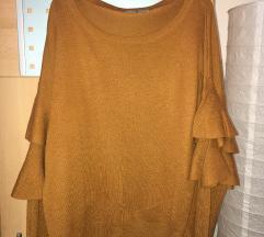Ujjrésznél fodros pulóver