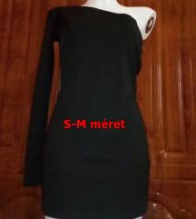 Új fekete félvállas mini ruha