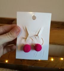 ÚJ H&M pink pompom fülbevaló