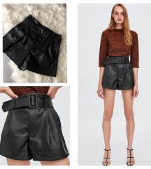 Zara bőr rövid nadrág