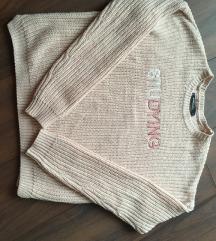 Világos bézs kötött pulóver felirattal