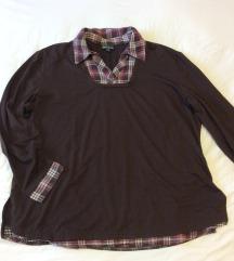 Moletti barna pólóing, kockás gallérral, 48-as