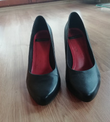VAGABOND fekete-pink magassarkú bőr cipő