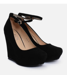Fekete telitalpú platform cipő