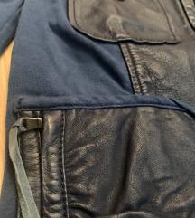 Olasz sötét kék dzseki zakó bőr betéttel 36