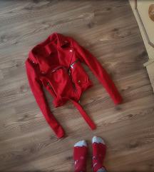 Új piros velúr kabát S méret