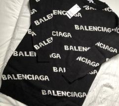 Fekete Balenciaga kötött hosszú pulóver S-es