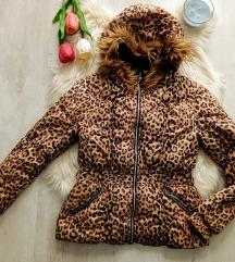 H&M leopárd szőrmés pufi kabát 40/M