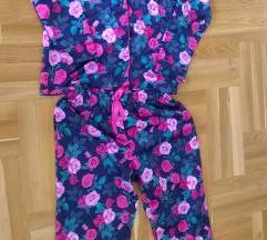 Virágos pizsama fényes szatén