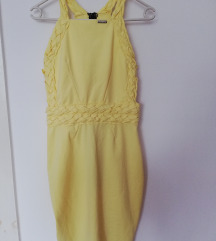 Fonott pántos sárga ruha Ashbury