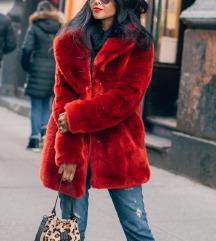 Új H&M piros bunda műszőrme kabát S