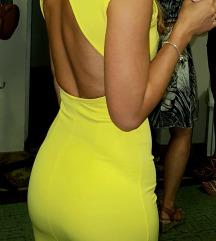 Egyedi open back élénk citromsárga ruha (XS)