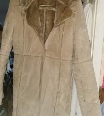 L-es drapp szőrmés hosszú kabát