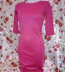Új rózsaszín 3/4 ujjú midi ruha M méret