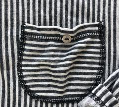 Oversize, szürke - fehér, hosszú ujjú, csíkos ing