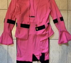 Két részes ruha, kiskosztüm, pink-fekete