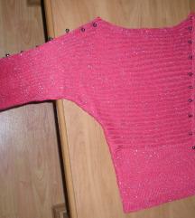 Gyönyörű rubin színű csillogó egyedi pulóver