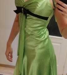 Egyedi Zöld selyem alkalmi ruha