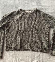 Kék-szürke oversized kötött pulóver