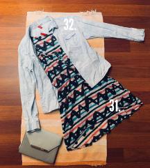 H&M mintás ruha + világoskék ing