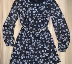 F&F fekete virágos ruha 34