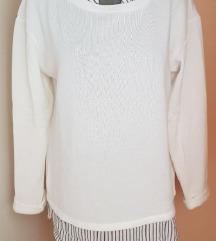 Promod dekoratív fehér puha pulóver ÚJ!