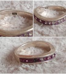 Igazi ezüst lila köves gyűrű