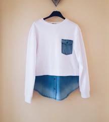 TEZENIS fehér ingbetétes pulóver S/M