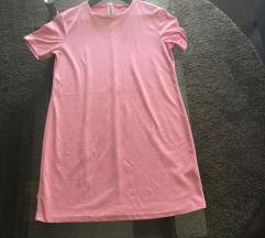 Zara hot pink suede t-shirt dress