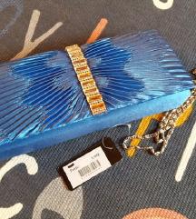 Kék szaténos kézi táska