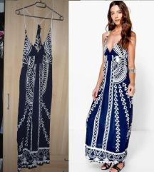 Boohoo kék maxi nyári ruha 40 42