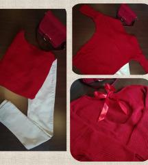 Új, piros kötött hosszú pulóver, hátul masnival