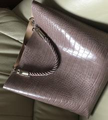 ZARA rózsaszín krokodil mintás tote bag táska