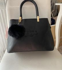 Új Guess fekete női táska szőrmés pompommal