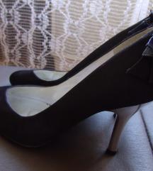 Női elegáns cipő 40-es, sötétkék,szatén/csere is