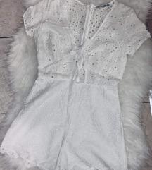 PullBear hófehér csipkés jumpsuit.S-es