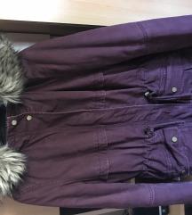 Burgundi plüssel bélelt kabát
