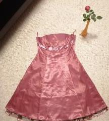 Gyönyörű rózsaszín szatén báli ruha + boleró