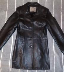 Best Line női hosszított fekete bőr kabát