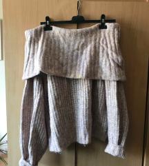 vállnélküli kötött pulóver