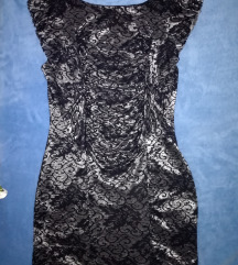 Fekete ezüst csipkés M-es ruha
