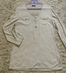 Fűzős drapp pulóver L-es AKCIÓ 800.-