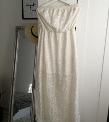 Fehér pántnélküli csipke nyári ruha
