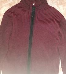 XL-es bordó-fekete férfi pulóver