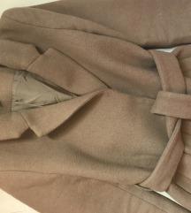 H&M camel gyapjú kabát megkötős övvel