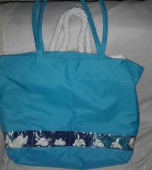 Türkiz kék,nagy méretű táska újszerű