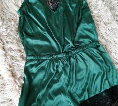 Zöld selyem hálószett
